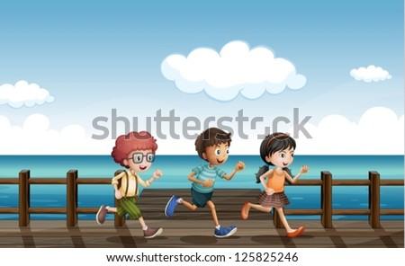 illustration of kids running on