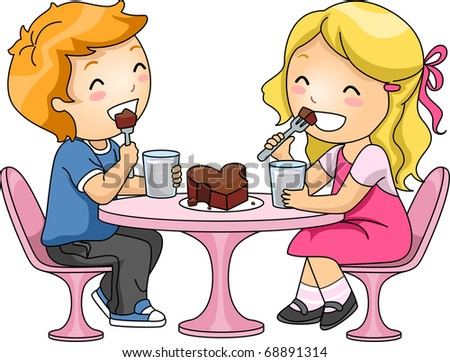 Illustration of Kids Sharing a Chocolate Cake