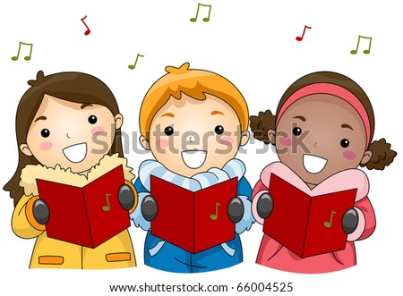 Illustration of Kids Singing Christmas Carols