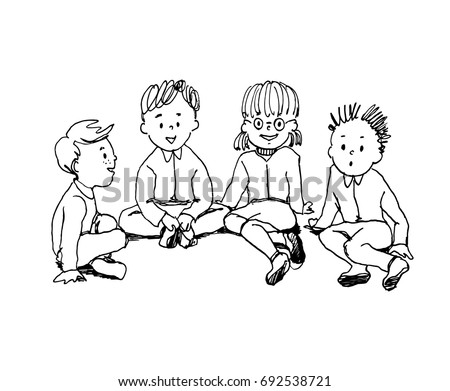 Kids Sitting In A Circle Outside