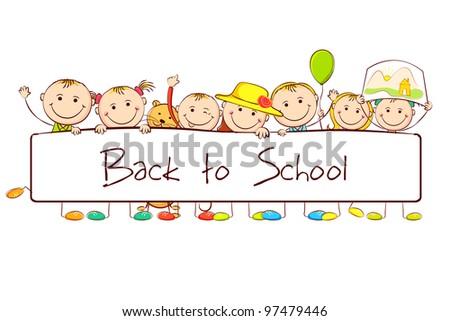 illustration of kids standing behind banner on white background