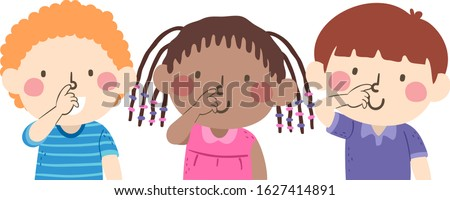 Illustration of Kids Students Touching their Noses Following the Instruction Touch Your Nose
