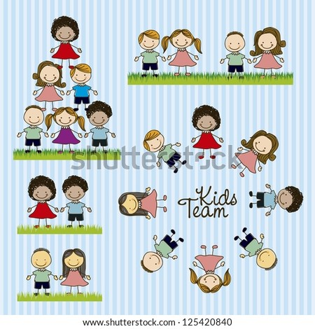 Illustration of kids team, in cartoon style and sketch, vector illustration