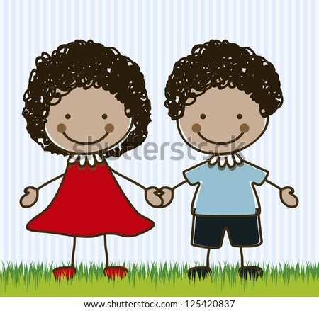 Illustration of kids team or couple, in cartoon style and sketch, vector illustration