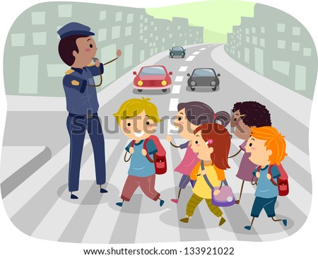 Illustration of Kids using the Pedestrian Lane while Crossing the Street