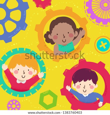 Illustration of Kids Waving from Inside Cogwheels and Gears