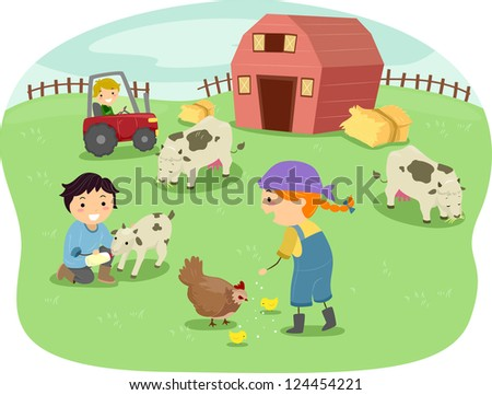 Illustration of Kids Wearing Farmhand Outfits Tending to Animals in a Ranch