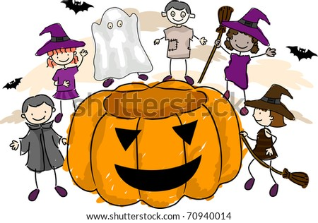 Illustration of Kids Wearing Halloween Costumes - stock vector