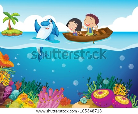 Illustration of kids with a shark