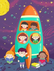 Illustration of Kids with Books in a Spaceship on the Moon in the Outer Space