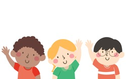 Illustration of Kids with Hands Up and Waving Hello