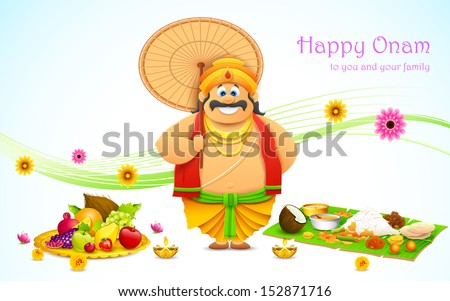 illustration of King Mahabali in Onam background