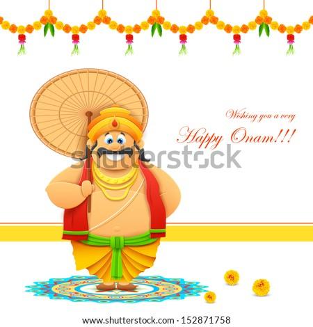 illustration of King Mahabali in Onam background