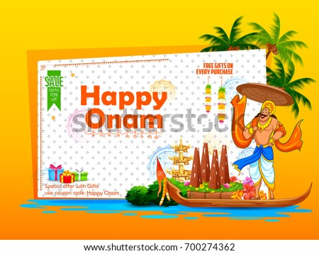 illustration of King Mahabali on advertisement and promotion background for Happy Onam festival of South India Kerala