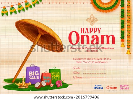 illustration of King Mahabali umbrella in celebration background for Happy Onam festival of South India Kerala