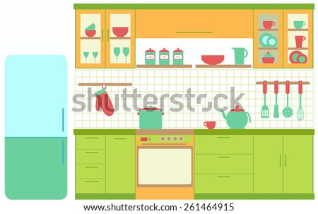 Illustration of kitchen with kitchen furniture Vector
