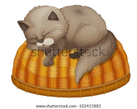 illustration of kitten sleeping