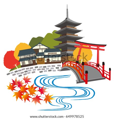 illustration of kyoto japan