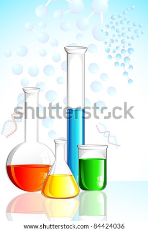 illustration of laboratory glassware on background with molecule