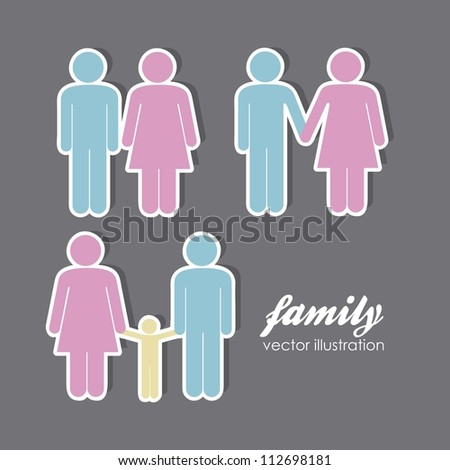 illustration of lady and gentleman, family with kids, vector illustration