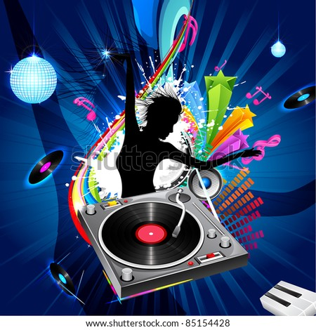 illustration of lady disco jockey on abstract musical background - stock vector