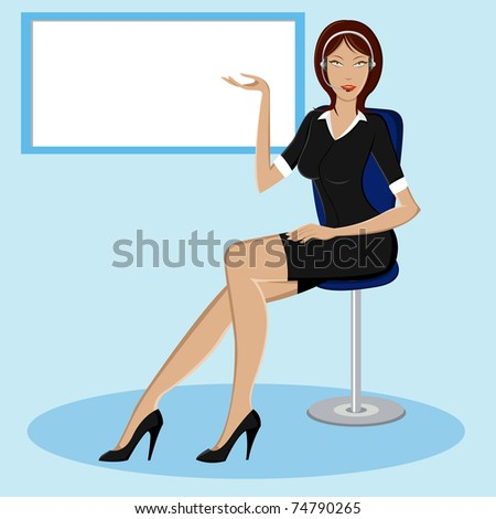 illustration of lady giving presentation in front of board