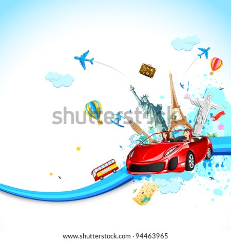 illustration of lady in car traveling famous monument - stock vector