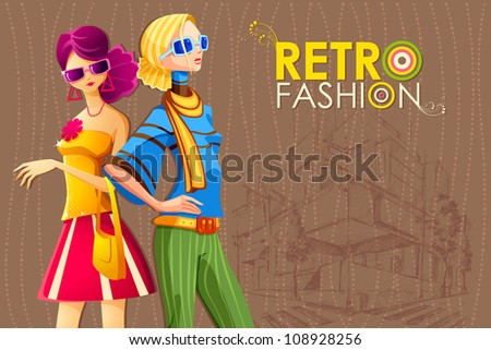 illustration of lady in retro fashion with mall sketch