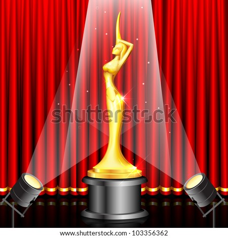 illustration of lady statue trophy on stage curtain backdrop - stock vector