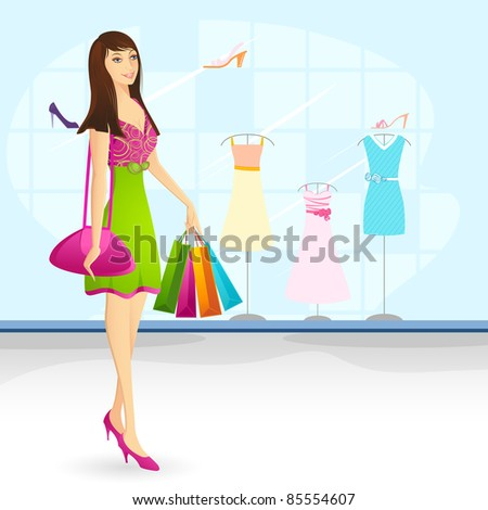 illustration of lady with shopping bag in front of showcase