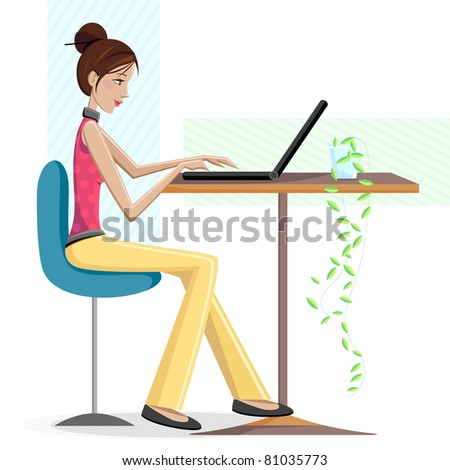 illustration of lady working on laptop sitting on table