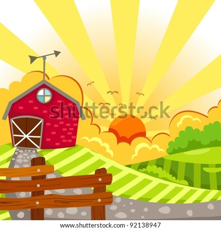 illustration of landscape barn