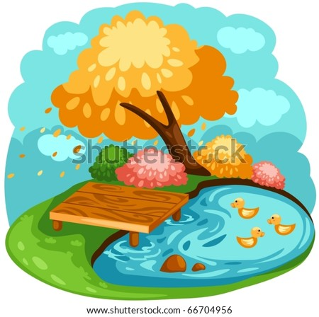 illustration of landscape cartoon ducks in a pond