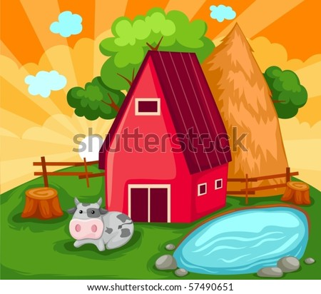 illustration of landscape cartoon farm house