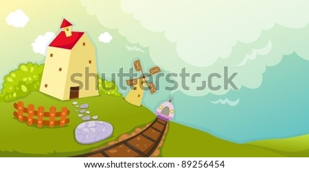 illustration of landscape cartoon farm house and windmill