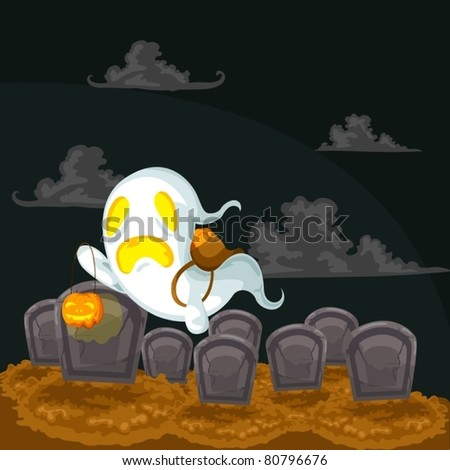 illustration of landscape cartoon ghost and graves