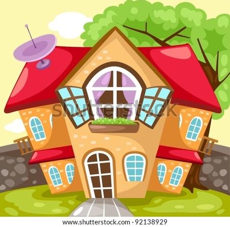 illustration of landscape cartoon house