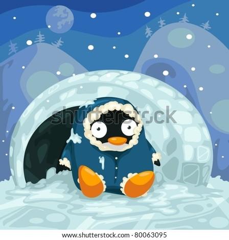 illustration of landscape cute penguin