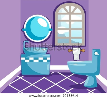 illustration of landscape inside bathroom