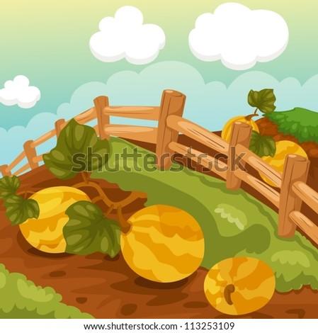 illustration of landscape natural farm