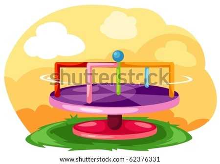 illustration of landscape playground merry-go-round