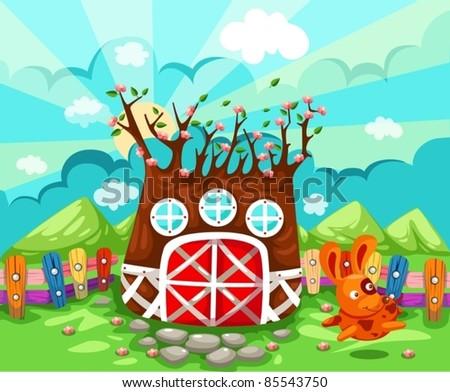 illustration of landscape tree house in spring season