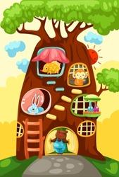 illustration of landscape tree house of animals