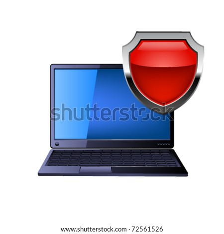 illustration of laptop computer and red shield