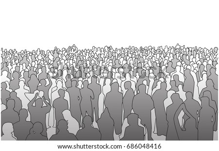 Illustration of large mass of people in perspective in grey scale