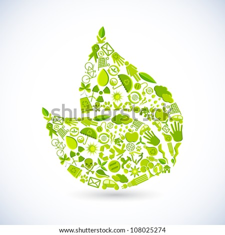 illustration of leaf shape made of recycle sign