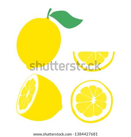 Illustration of lemon. Half lemon. Slice of lemon. Vector lemon with green leaf. Citrus. Fruit icon.