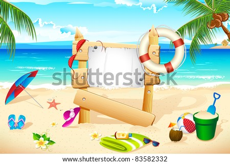 illustration of lifebouy and other beach elements on sea shore - stock vector
