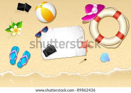 illustration of lifebouy,ball and slipper on sea beach
