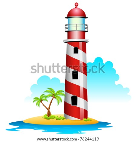 illustration of lighthouse with palm tree on island - stock vector